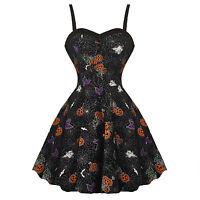 Hell Bunny Harlow Halloween Goth Pumpkin Trick or Treat Party Fancy Dress