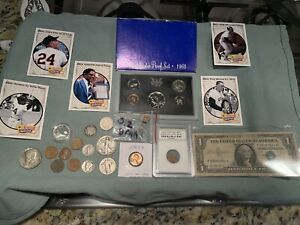 Junk Drawer Lot E: 2 g gold, 90% silver coins, ancient coin, 99c start, NR
