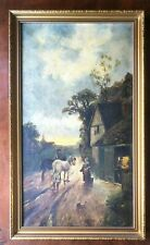 Interesting Old Oil Painting Village Scene By Florence Dundas The Blacksmiths