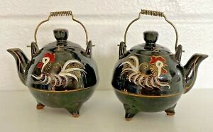 Vintage Japan Tea Pot Shaped Salt & Pepper Shaker Set brown Rooster Lusterware