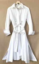 Scanlan Theodore White Cotton Button Down Eyelet Shirt Dress 8-10