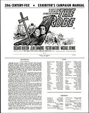 THE ROBE pressbook, Richard Burton, Jean Simmons, Victor Mature CINEMASCOPE