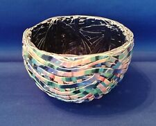 Barbara Cahn Tangle Collection Basket - Rainbow - Porcelain Clay - Art Pottery