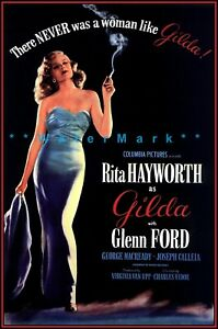Gilda 1946 Movie Rita Hayworth Glenn Ford Vintage Poster Print Retro Film Decor