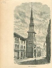 Eglise Saint-Martin de Lubbeek Vlaams-Brabant GRAVURE ANTIQUE OLD PRINT 1880