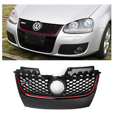 Front Upper Bumper Hex Mesh Grille For VW MK5 Jetta GTI GLI 06-09 w/ Red Strip
