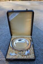 Antique Metal Blanc Silverplate Birth Gift Set Plate and Spoon in Leather Box