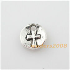 25 New Charms Tibetan Silver Round Cross Pendants DIY 9.5mm