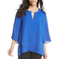 KAREN KANE Women's Asymmetrical Crossover Keyhole Blouse Shirt Top TEDO