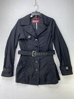 JOUJOU Women's Black Belted Lightweight Trench Pea Coat Jacket Sz M