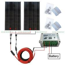 200W Off Grid System:2x100W Solar Panel for 12V Camping Car Home Battery Charger