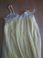 Vintage Gaymode Chemise Lingerie Nightgown Yellow Sheer White Lace Size Medium