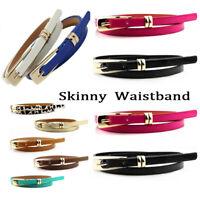 Fashion Women Lady Girl Skinny Waist Belt Thin Leather Narrow Waistband Gift