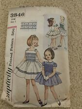 Simplicity 3846 Vintage Smocked Dress  Size 5 Pattern