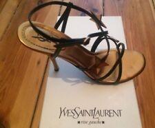 YSL Yves Saint Laurent Sandale Lack Leder Sterne Bronze schwarz Sandalette