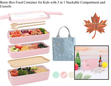 Bento Box Food Container for Kids with 3 in 1 Stackable Compartment and Utensils