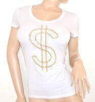 MAGLIETTA donna BIANCA manica corta t-shirt sottogiacca maglia cotone oro 5N