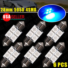 6X 28mm Festoon 4SMD Ultra Blue LED Dome Map Light Bulbs DE3021 DE3022V 40A US