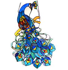 Stained Glass Peacock Design Window Panel Tiffany Style Hanging Home Decor Blue