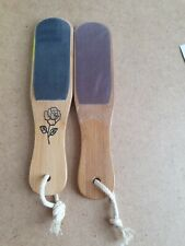 2 x Double Sided Wooden Foot File Callus Rough Rasps File Hard Dead Skin Remover