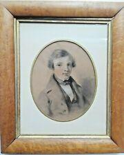 Antique 19th Century FRENCH SCHOOL Portrait Chalk DRAWING OF A BOY Maple Frame