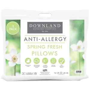 2 Pack B&M Downland ANTI-ALLERGY Pillows firm extra support Hollow fibre filled