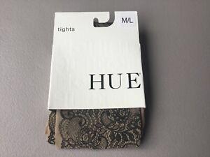 NWT Hue Printed Lace Sheer Tights w/ Control Top Size M/L Natural #840G