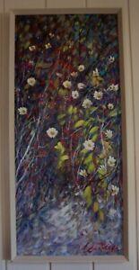 Vintage Floral Oil Painting by Listed Artist , Steven Deutscher , born 1947