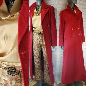 Exotic RED VELVET DUSTER Long Coat SZ 12 Mystic Fit Flair LUXE Victorian Vampire