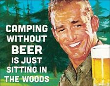 Camping Without Beer Rustic Retro Tin Metal Sign 13 x 16in