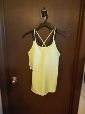 Womens Adidas Tank Top L in yellow with black spaghetti straps Climalite NWT