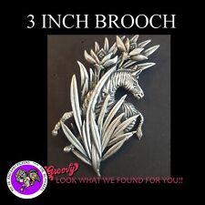 """""""JJ"""" Jonette Jewelry Silver Pewter 'Zebra Flowers Grass' Pin Brooch"""