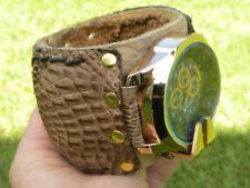 Watch Gold Rose color genuine Alligator Crocodile leather band bracelet bangle