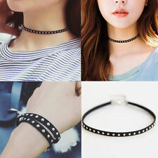Mew Fashion Punk Black Leather Rivet Studded Choker Chunky Necklace Bracelet Hot