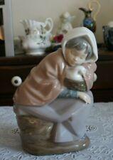 Vintage Lladro Nao Figurine Sleeping Girl With a Duck in Basket, Spain