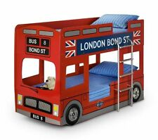 LONDON BUS CHILDRENS WOODEN BUNK BED FRAME WITH 2 PREMIER MATTRESS INCLUDED