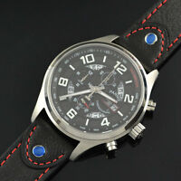43mm Parnis Black Dial Day Date Full chronograph Quartz Mens Wrist Watch 561