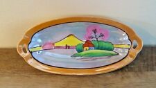 Oval Lusterware Pierced Handle Relish Dish Tray Hand Painted Vintage Japan