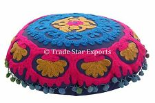 Uzbek Suzani Cushion Cover Indian Embroidered Round Decorative Pillow Cover
