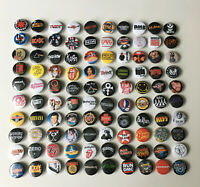 "100 1.25"" Buttons Mixed Classic Rock Punk Ska Punk Metal 80s 90s Badges Pins"