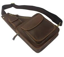 Cool Men Brown Cowhide Real Leather Shoulder Bag messenger Backpack Chest-pack 2