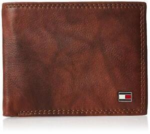 Tommy Hilfiger Men's RFID-Blocking Leather Traveler Bifold Passcase Wallet Tan