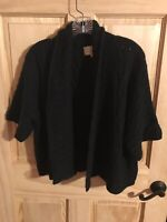 Avenue Sweater Collection Plus Size Black Cardigan Short Sleeve Size 18/20~ WOW