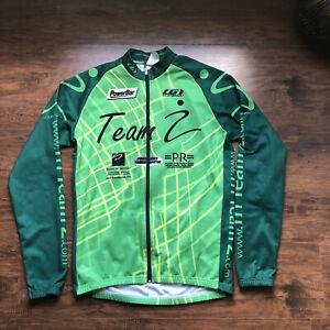Louis Garneau Long Sleeve Cycling Jersey Green/Black Full Zip Size Large