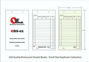 100x Small Size Duplicate Carbonless Restaurant Docket Book OBS-02 85x150mm