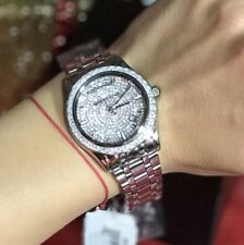 Mickael Kors Kiley Silver Tone Crystals Glits Pave Stainless Steel Watch MK6144