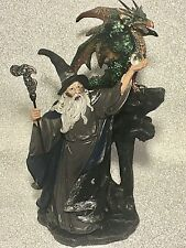 More details for wizard and dragon figure inc staff + orb sorcerer gandalf merlin style new boxed