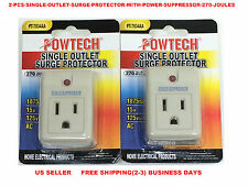 2 PCS SINGLE OUTLET SURGE PROTECTOR WITH POWER SUPPRESSOR 270 JOULES