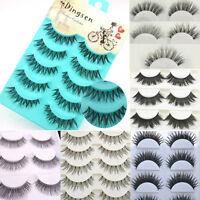 5/6/10 Pairs Long Thick CROSS False Eyelashes Eye Lashes Extension Makeup Beauty