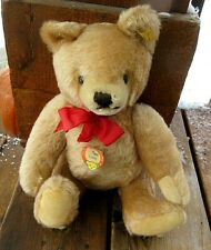 "VINTAGE 13"" MOHAIR JOINTED STEIFF TEDDY BEAR WITH BUTTON, BUTTON TAG & CHEST TAG"